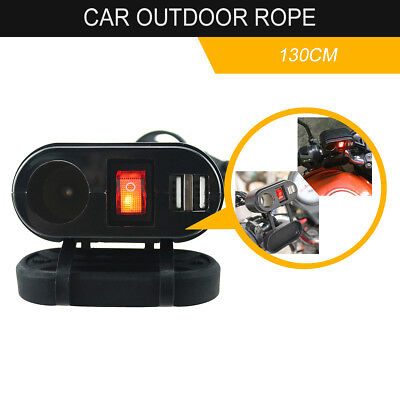 Motorcycle Dual USB Charger Port Cigarette Lighter Socket + Switch Weatherproof