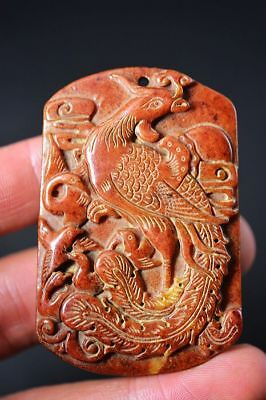 Delicate Chinese Old Jade Carved *Phoenix* Lucky Pendant    F34