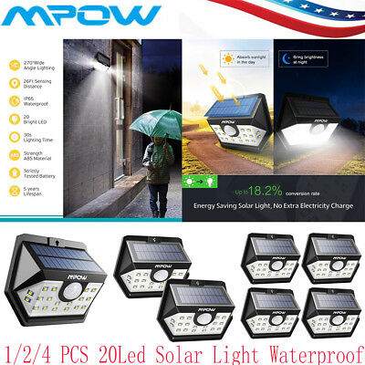 Mpow 20 LED Solar Powered Lights Motion Sensor Outdoor Garden Security Wall Lamp