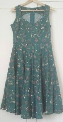 Bunny rabbit and forest friends dress by Revival Dangerfield size 12 EUC pockets