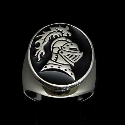 Sterling Silver Mens Medieval Ring Brave Knight Lancelot Black Enamel Any Size