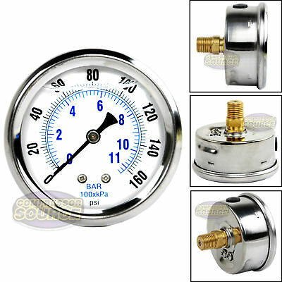 "Liquid Filled 160 PSI Air Pressure Gauge Center Back Mount Mnt with 2.5"" Face"