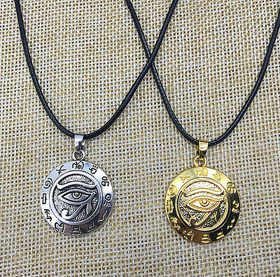 Egyptian Eye of Horus Ankh Ra Udjat Pendant Necklace Gold/Silver