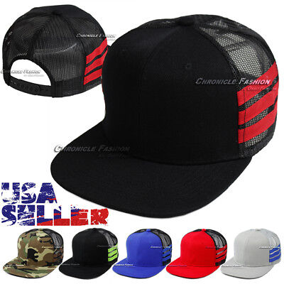 96ee6364fdd Trucker Mesh Hat Baseball Cap Snapback Plain Flat Hip Hop Adjustable Hats  Mens