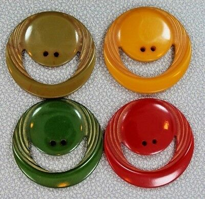 """Vintage Lot Of 4 """"smiley Face"""" Bakelite Buttons-Large- Mounted On Card"""