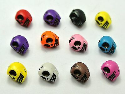 100 Mixed Color Acrylic Halloween Gothic Skeleton Skull Beads 10X8mm