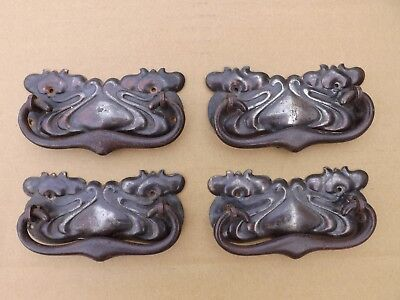 Set of 4 Art Nouveau drawer handles. Good condition. UK DELIVERY INCLUDED.