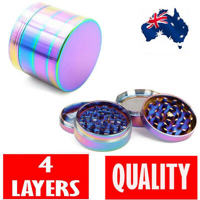 Metal Hand Herb GRINDER 4 Layers Rainbow Tobacco Smoke Muller 40mm Lid Pot Roll
