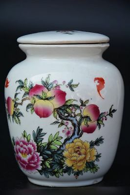 Excellent Chinese Famille Rose Porcelain *peach* Tea Caddy