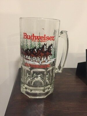 Budweiser Clydesdales 8'' Large Clear Glass Christmas Mug Anheuser Busch 1989