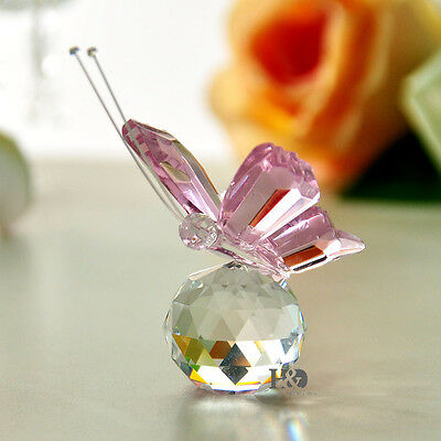 Pink Crystal Butterfly Paperweight Cut Glass Wedding Favor Collectibles Gifts