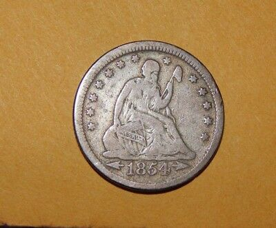 1854 Liberty Seated Quarter Dollar; Variety 2, Arrows At Date - Free Shipping