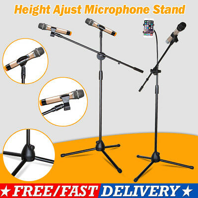 New Telescopic Boom Microphone Stand Adjustable Mic Holder Tripod Two Clip 1to2