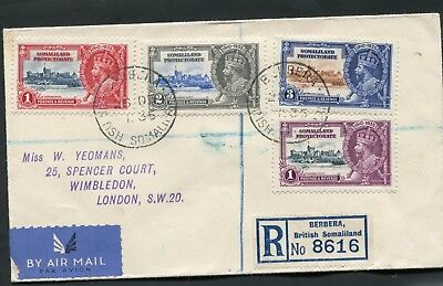 1935 Silver Jubilee Somaliland Protectorate set on a  Registered Cover to London