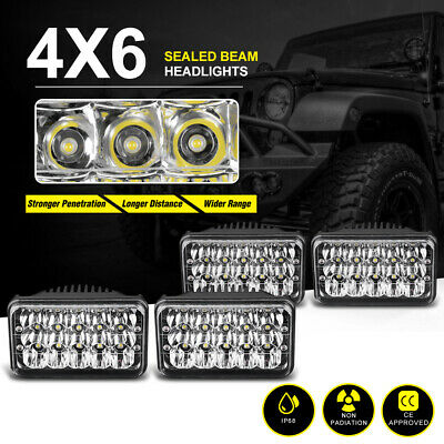 4X6inch Led Headlights Sealed High/low Beam for Kenworth T400 W900L H4651 H4652