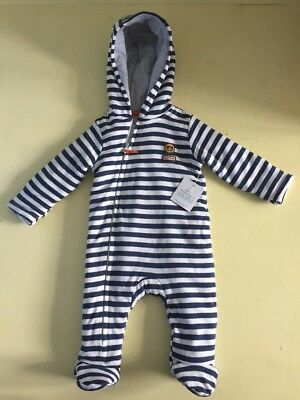 Waitrose Mini Blue and White Stripe Pramsuit /Coat 100% Cotton. 3-6 Months. BNWT