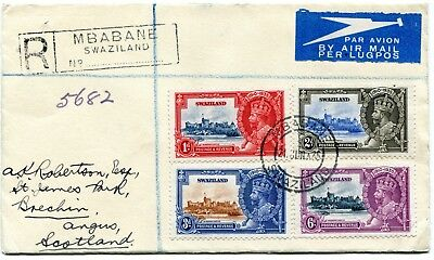 1935 Silver Jubilee Swaziland set on a Registered  Cover see description