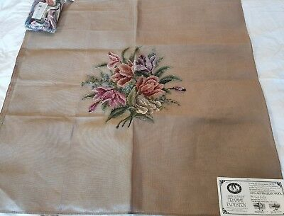 NEW QUEEN ADELAIDE Trammed TAPESTRY CANVAS & WOOL FLOWERS 1613/11/3