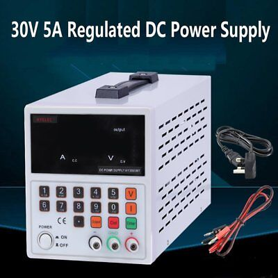 30V 5A Adjustable DC Power Supply Precision Variable Digital Lab Test with Cable