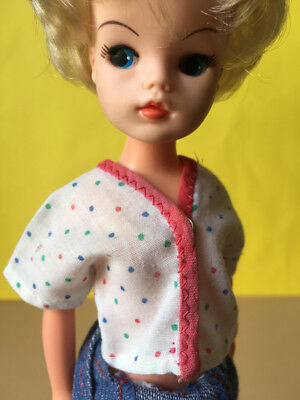 Vintage white polka dot blouse colour spots top fit Sindy Barbie doll SHIMMYSHIM