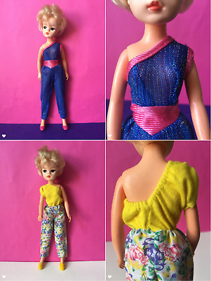 REDUCED 2 vintage asymmetrical jumpsuits disco fit Sindy Barbie doll SHIMMYSHIM