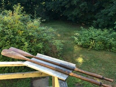 Antique Boat Oars with Leather Collars Nice Patina/Wear Marks,