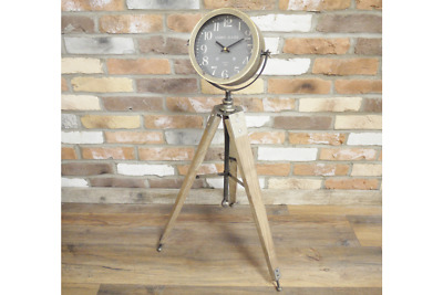 Floor standing tripod clock rustic Wood retro Industrial vintage French Chic