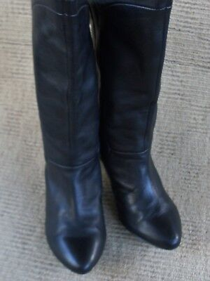 Lovely N/new Rmk Black Leather Calf Length Boots, Size 9