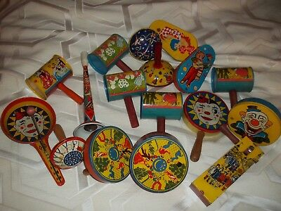 VINTAGE Lot OF 15 TIN NOISEMAKERS NEW YEARS PARTY Clowns