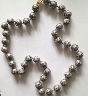 "Chinese cloisonne pink floral large bead knotted necklace, 30"", amazing!"
