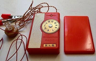 H&G AG220 Pocket Germanium Crystal Radio Set Red in Original Box Exc 1960's