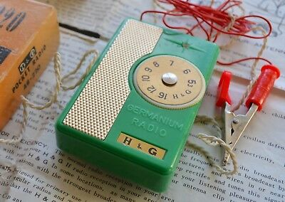 H&G AG220 Pocket Germanium Crystal Radio Set GREEN in Original Box Exc 1960's