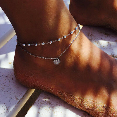 Novelty Heart/Star Shape Anklet Double Layered Chain Silver Foot Jewelry Girls Z