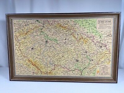 """Czechoslovakia Map Vintage 1951 24""""x 15"""" Framed And Ready To Hang"""