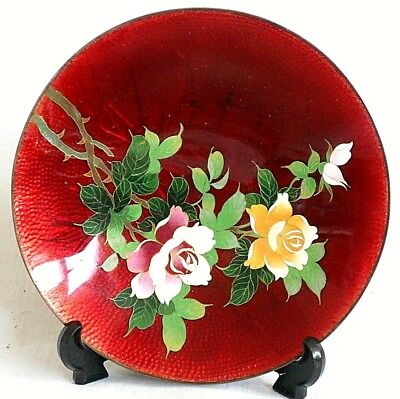 C19Th Japanese Ginbari Dish Decorated With Roses