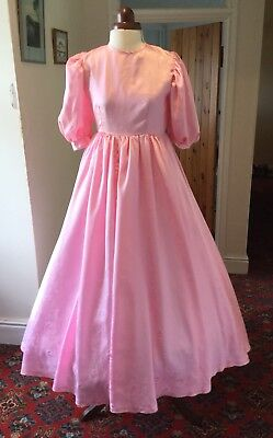 GIRL'S VINTAGE 1980's PINK VICTORIAN STYLE BRIDESMAID DRESS