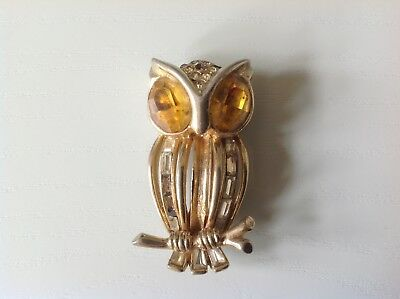 Vintage Coro Craft Owl Fur Clip Pin - Damaged, Missing Stones & Gilt