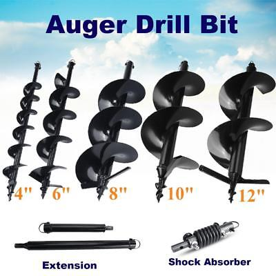 """4"""" 6"""" 8"""" 10"""" 12"""" Post Hole Digger Earth Augers Bits Shock Absorber Extension"""