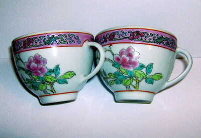 TWO HAND painted Chinese TEA CUPS (FLORAL & POEM pattern ) ( JINGDEZHEN )