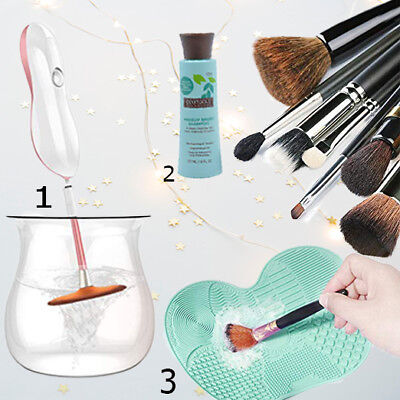 Makeup Brush Cleaner Electronic Spinner + Silicon And Ecotools Shampoo