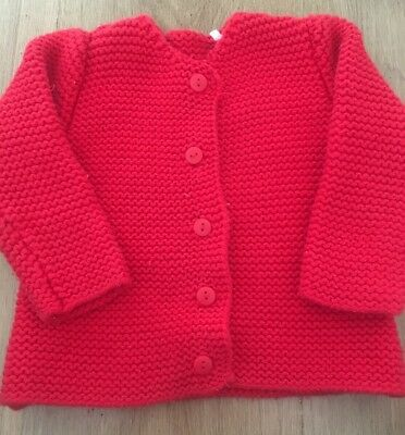 Mothercare Baby Girls Chunky Knit Bright Red Cardigan. 6/9 9/12 Months.