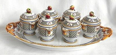 C19Th Sarreguemines French Faience Egg Tray With Six Egg Cups And Covers
