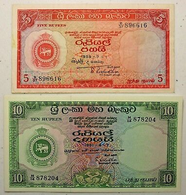 Lot of Two Notes 1959 5 Rupees & 1961 10 Rupees Central Bank of Ceylon Sri Lanka