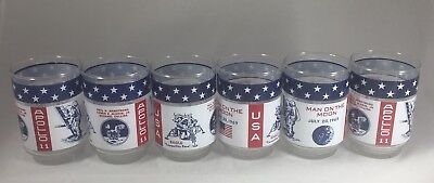 6 Vintage Apollo 11 Man on the Moon Glasses - Tranquility Base, Eagle Excellent