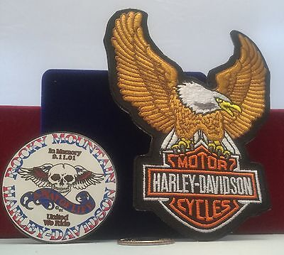 harley davidson  lapel pin & eagle 4 INCH IRON ON Patch