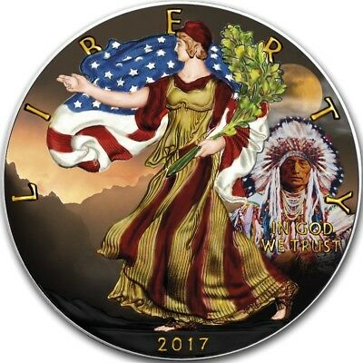2017 1 Oz Silver $1 AMERICAN INDIAN WITH EAGLE AT SUNSET Coin, Box And COA.