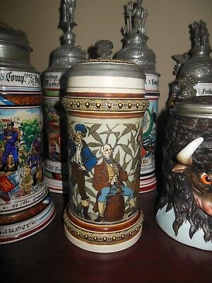 Antique Mettlach German etched stein 1163 Musicians very old 135 years old!!