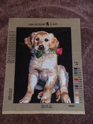 Dog With Rose Tapestry Canvas - Collection D' Art