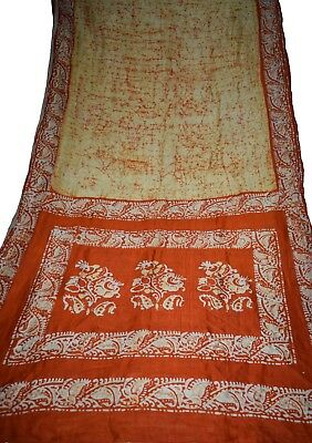 Indian Vintage 100% PureSilk Yellow Color Batik Printed Saree Dress Craft Fabric