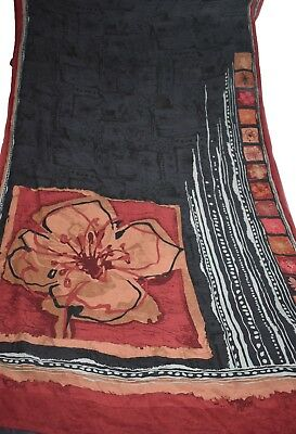 Indian Culture Vintage Printed 100% Pure Crepe Saree Floral Black Craft Sari